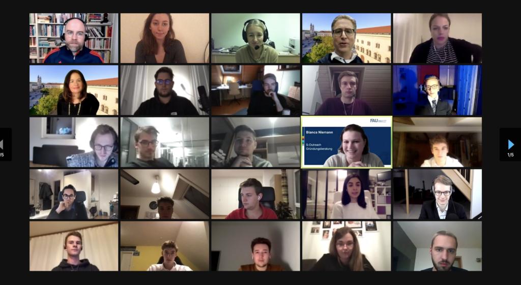 Screenshot der virtuellen Preisverleihung der Startup Challenge 2020/21
